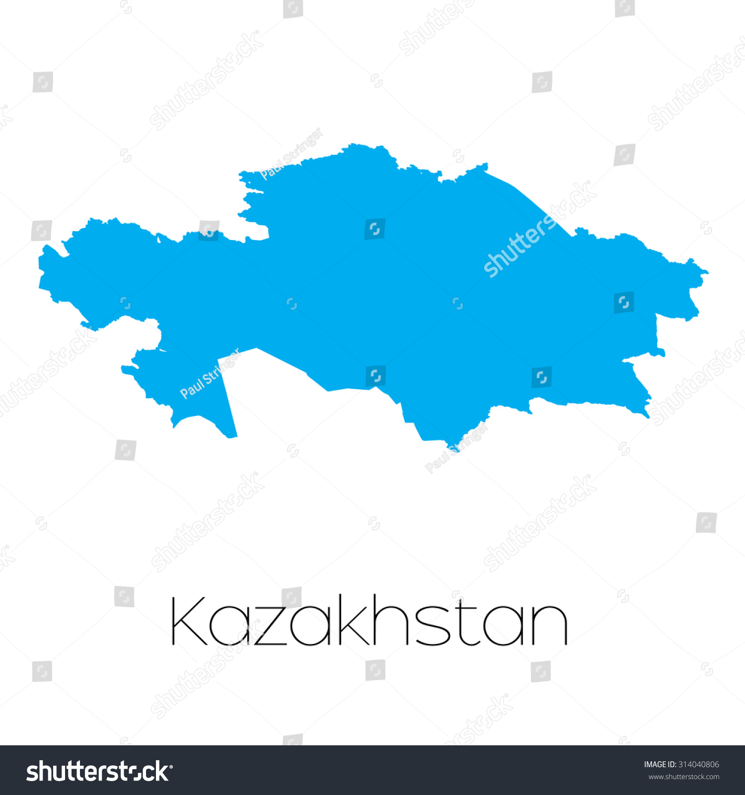 A Blue shape with name of the country of Kazakhstan