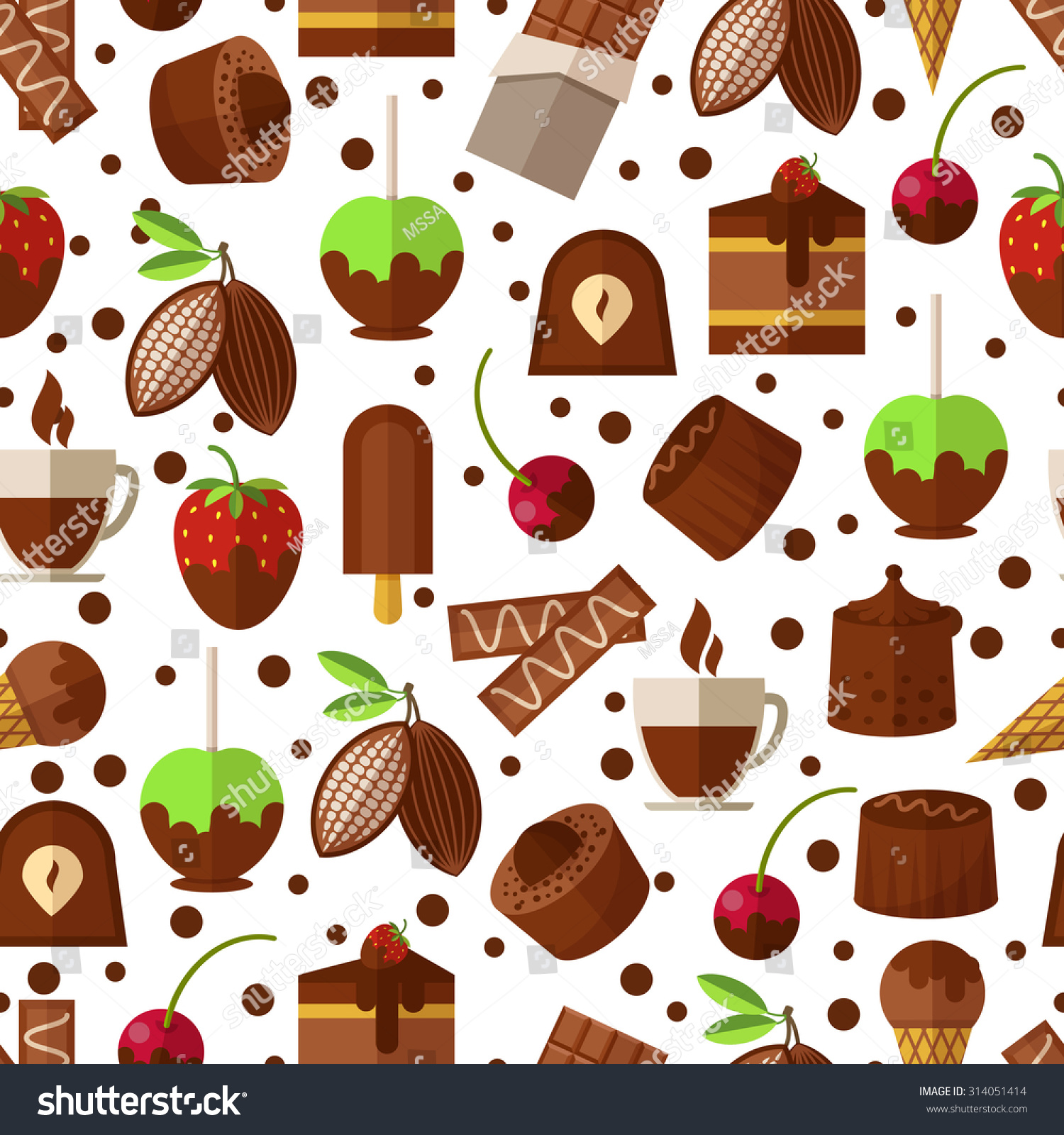 Sweet Ice Cream Flat Colorful Seamless Pattern Vector: Sweets Candies Chocolate Ice Cream Seamless Stock Vector