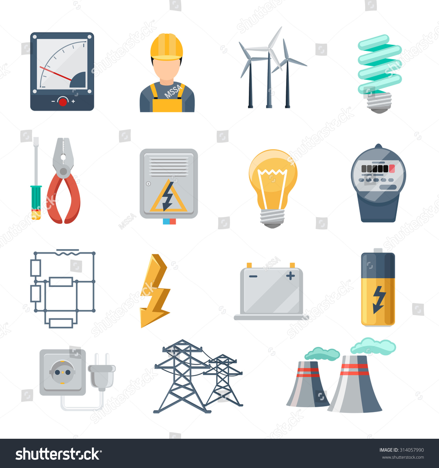 Electricity power industry icons flat vector stock vector royalty electricity and power industry icons flat vector set transformer and socket plug and capacity ccuart Image collections