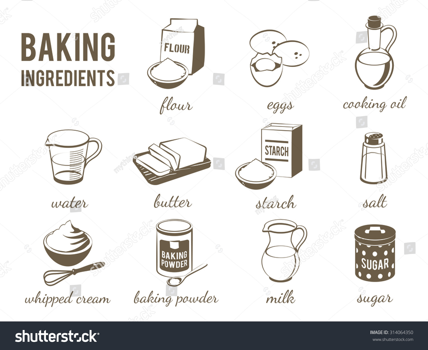 Set monochrome lineart food icons baking stock vector for Art cuisine evolution 10 piece cooking set