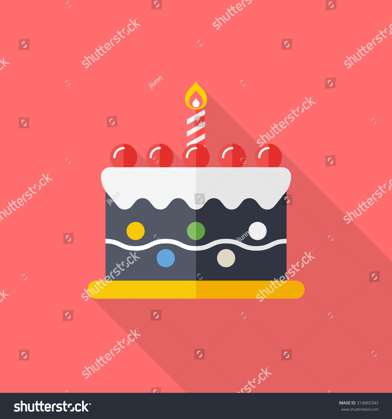 Birthday Cake Icon Vector Illustration Flat Stock Vector 314065343