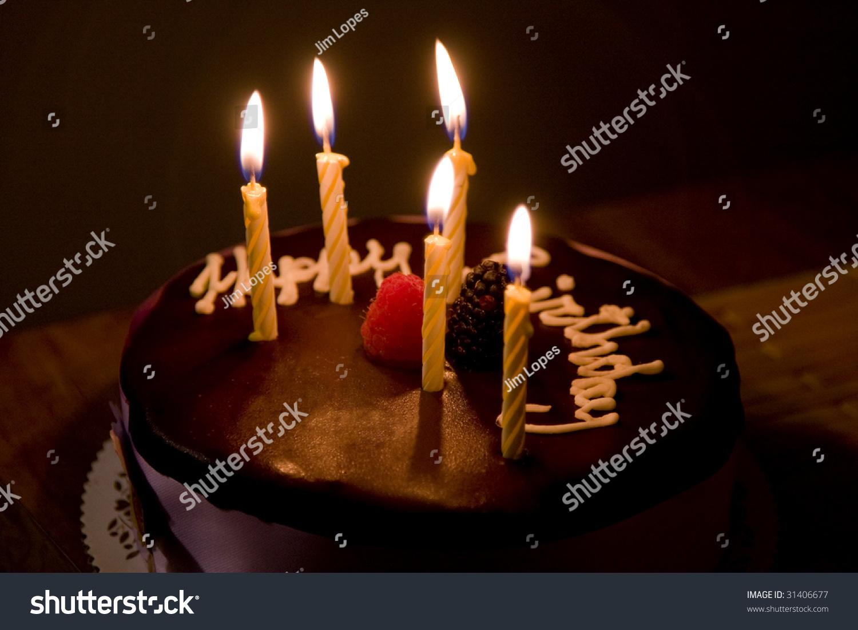 Happy Birthday Cake Burning Candles Stock Photo Edit Now 31406677