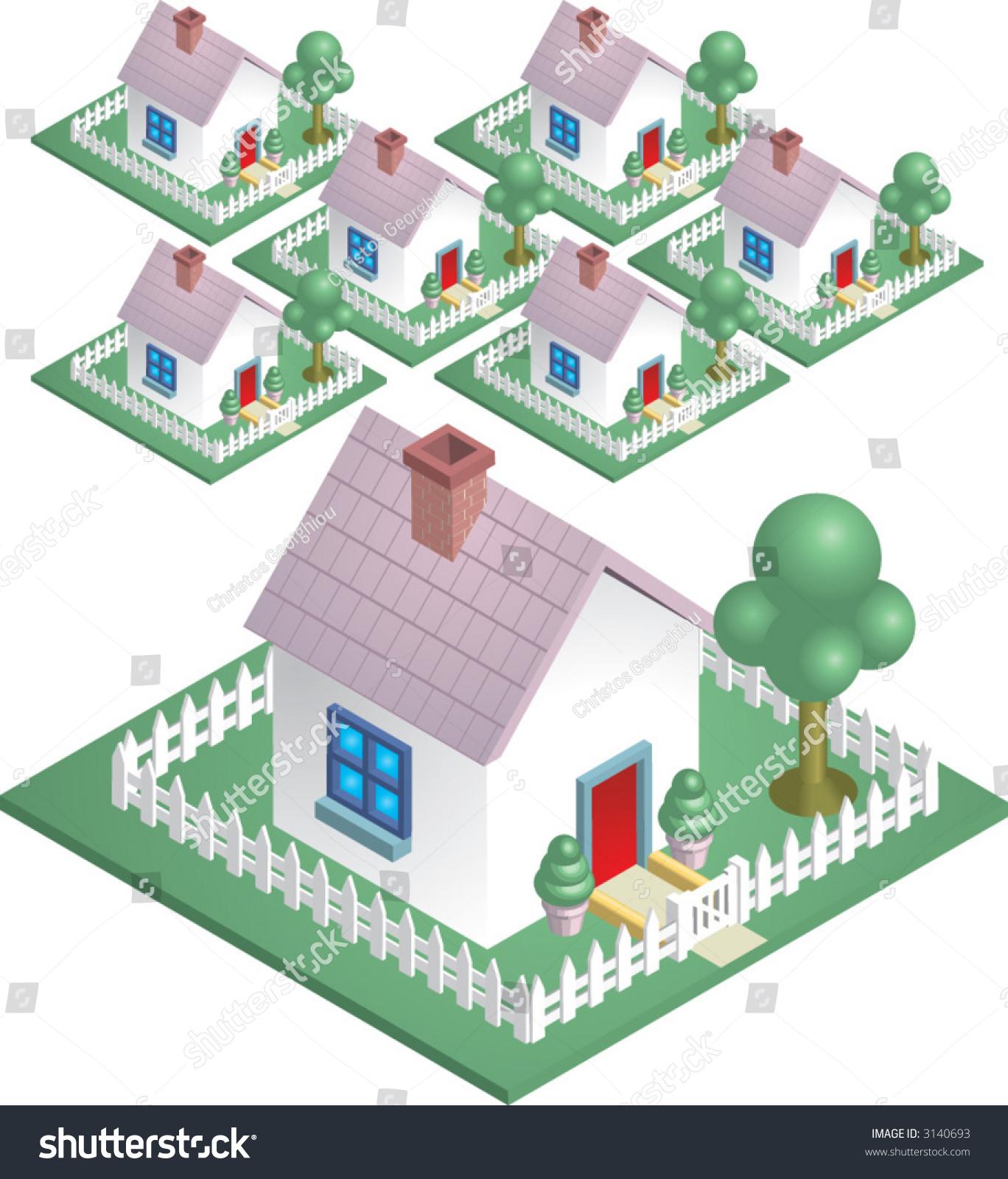 neighbourhood cute house picket fence easily stock vector