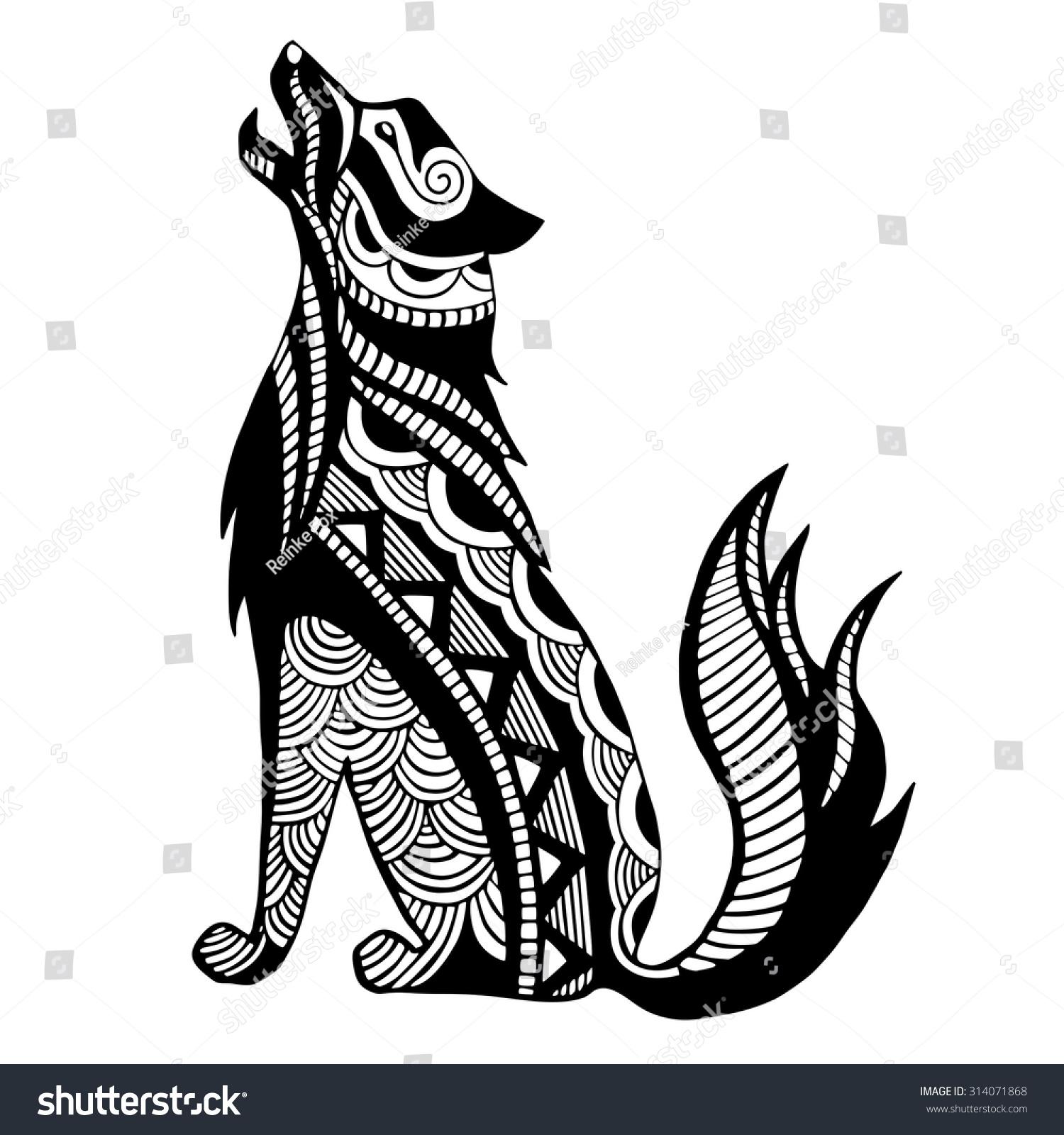 ethnic black wolf silhouette african totem stock vector 314071868 shutterstock. Black Bedroom Furniture Sets. Home Design Ideas