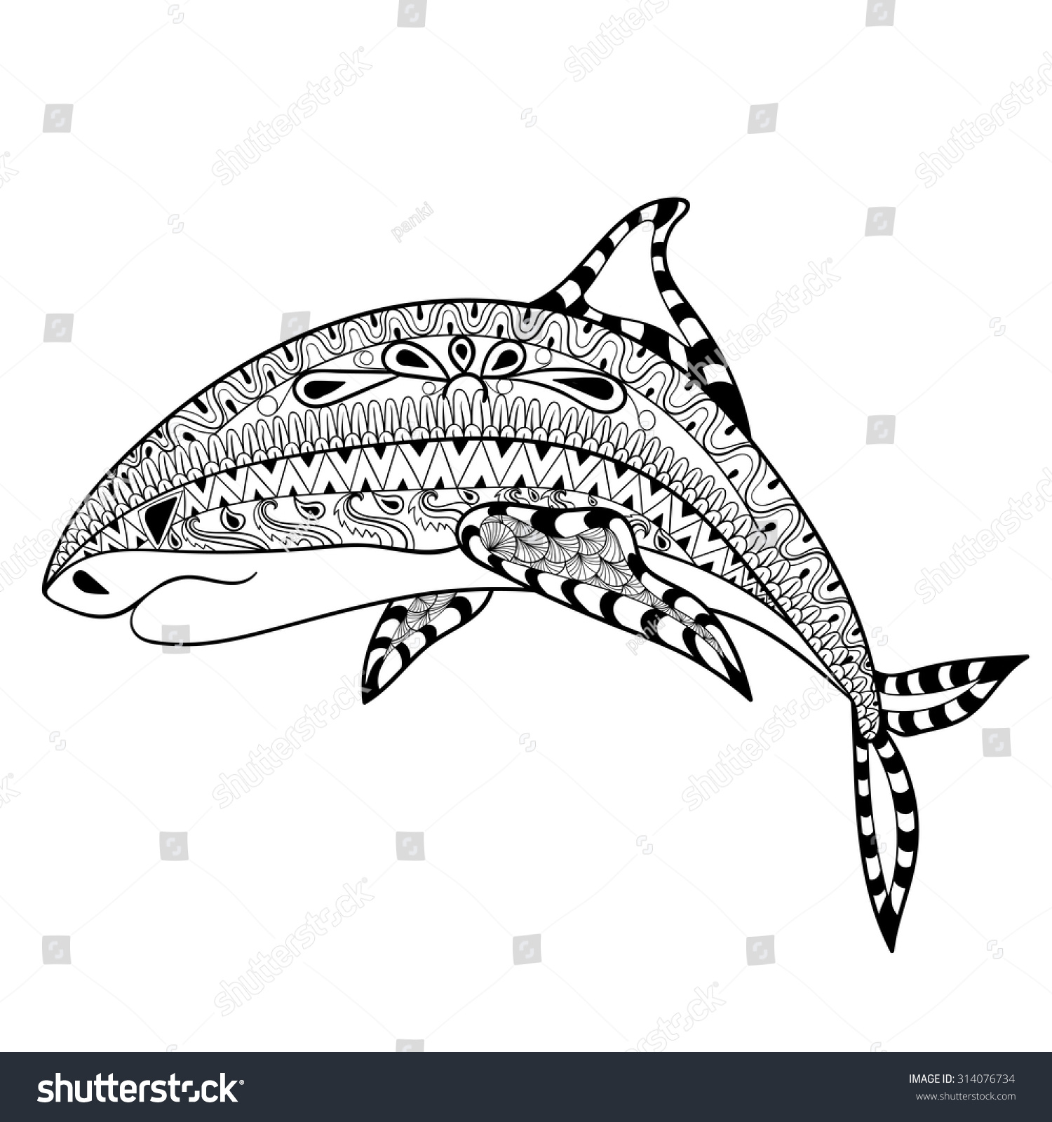 zentangle shark totem anti stress stock vector 314076734