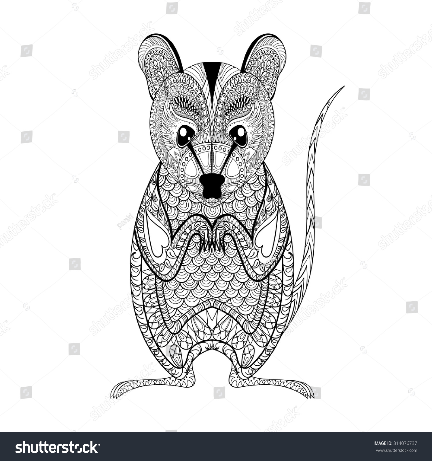 Anti stress coloring therapy - Zentangle Possum Totem For Adult Anti Stress Coloring Page For Art Therapy Illustration In Doodle