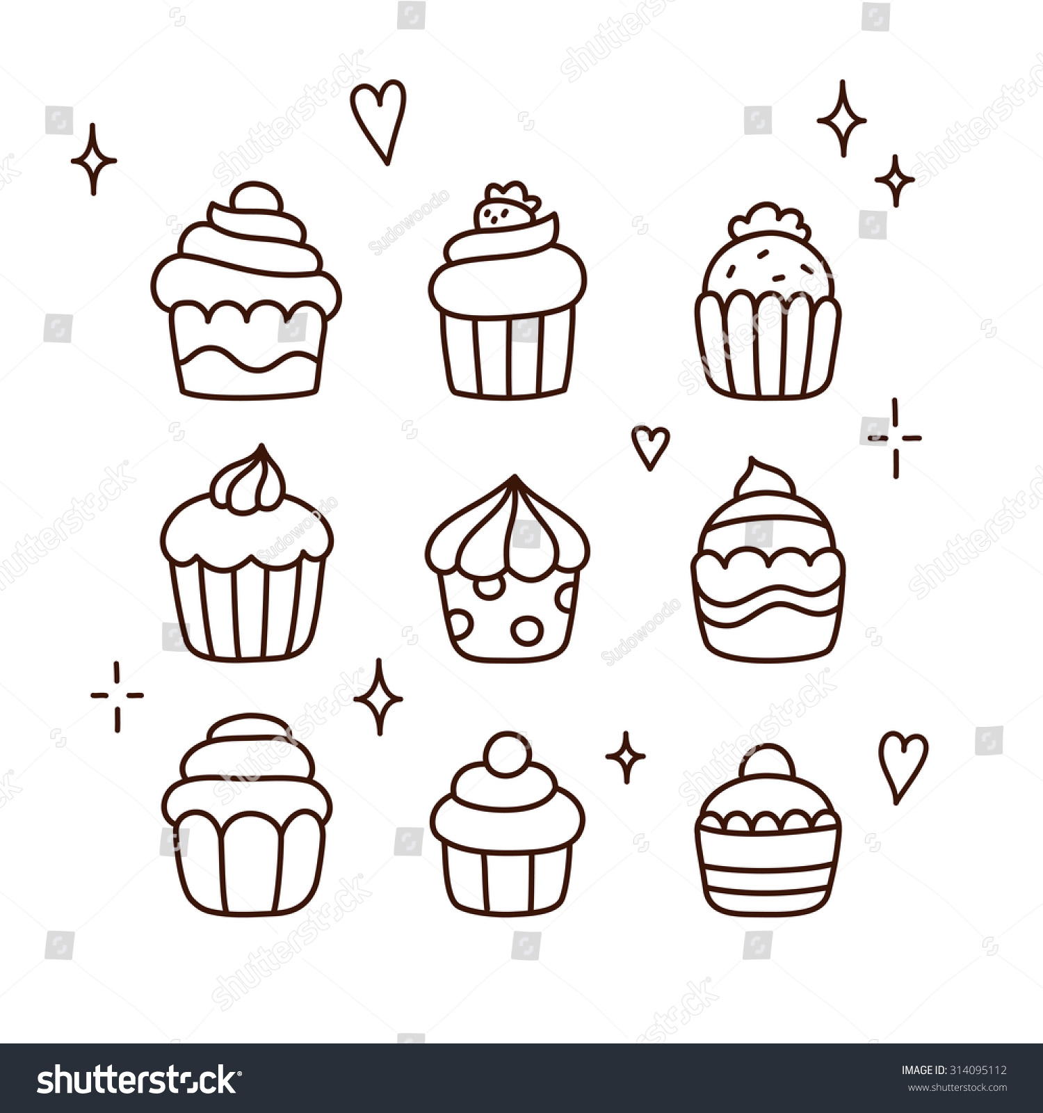 Cake Line Art Vector Free Download : Set Cute Cartoon Cupcake Doodles Hand Stock Vector ...