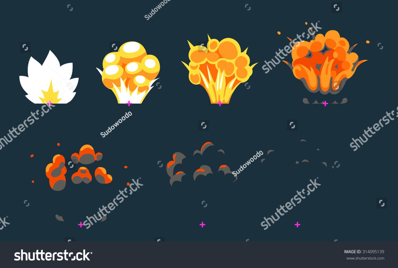 Cartoon Explosion Animation Frames Game Sprite Stock Vector ...