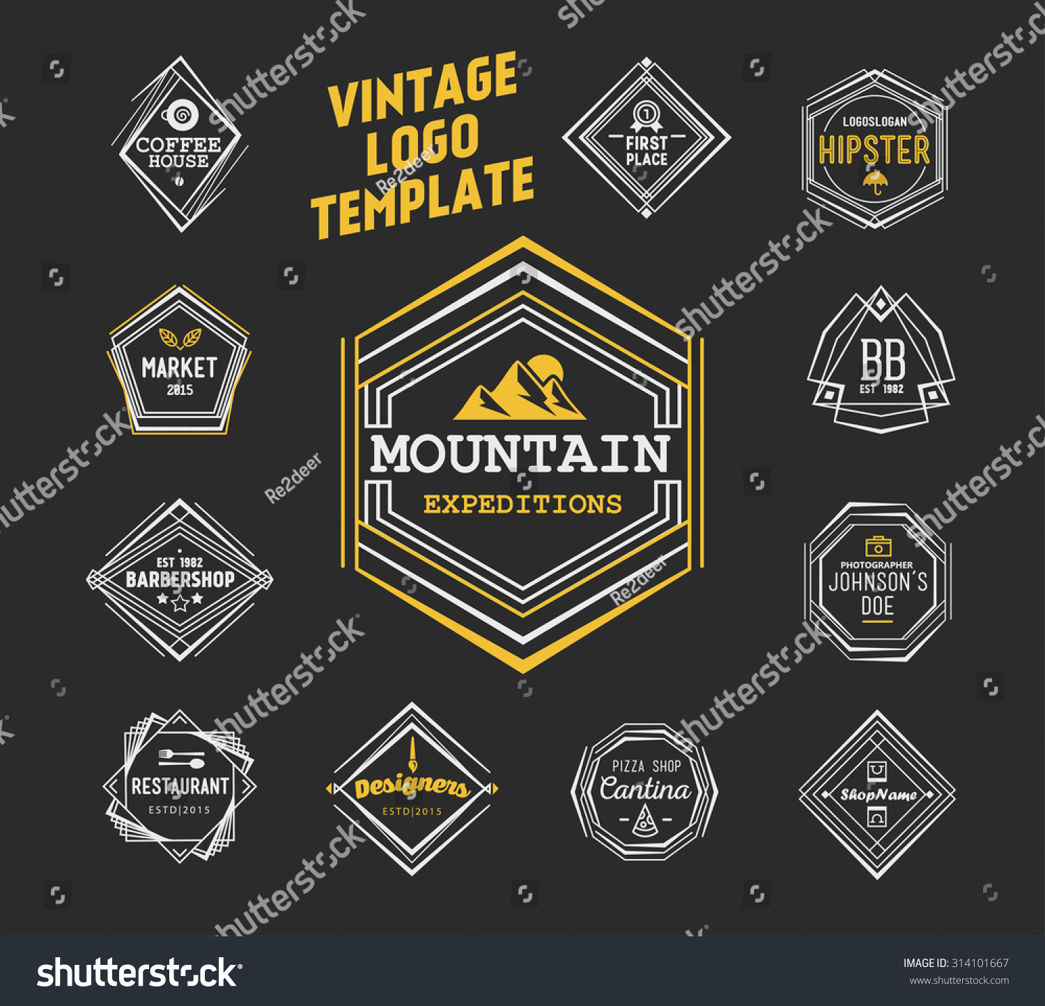 vintage logo template elegant line art stock vector 314101667 shutterstock. Black Bedroom Furniture Sets. Home Design Ideas