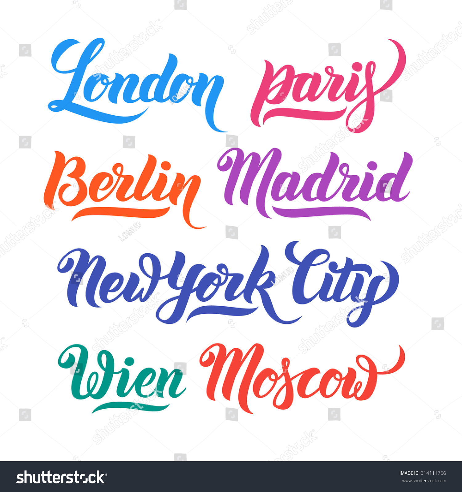 Different city names hand lettering calligraphy collection