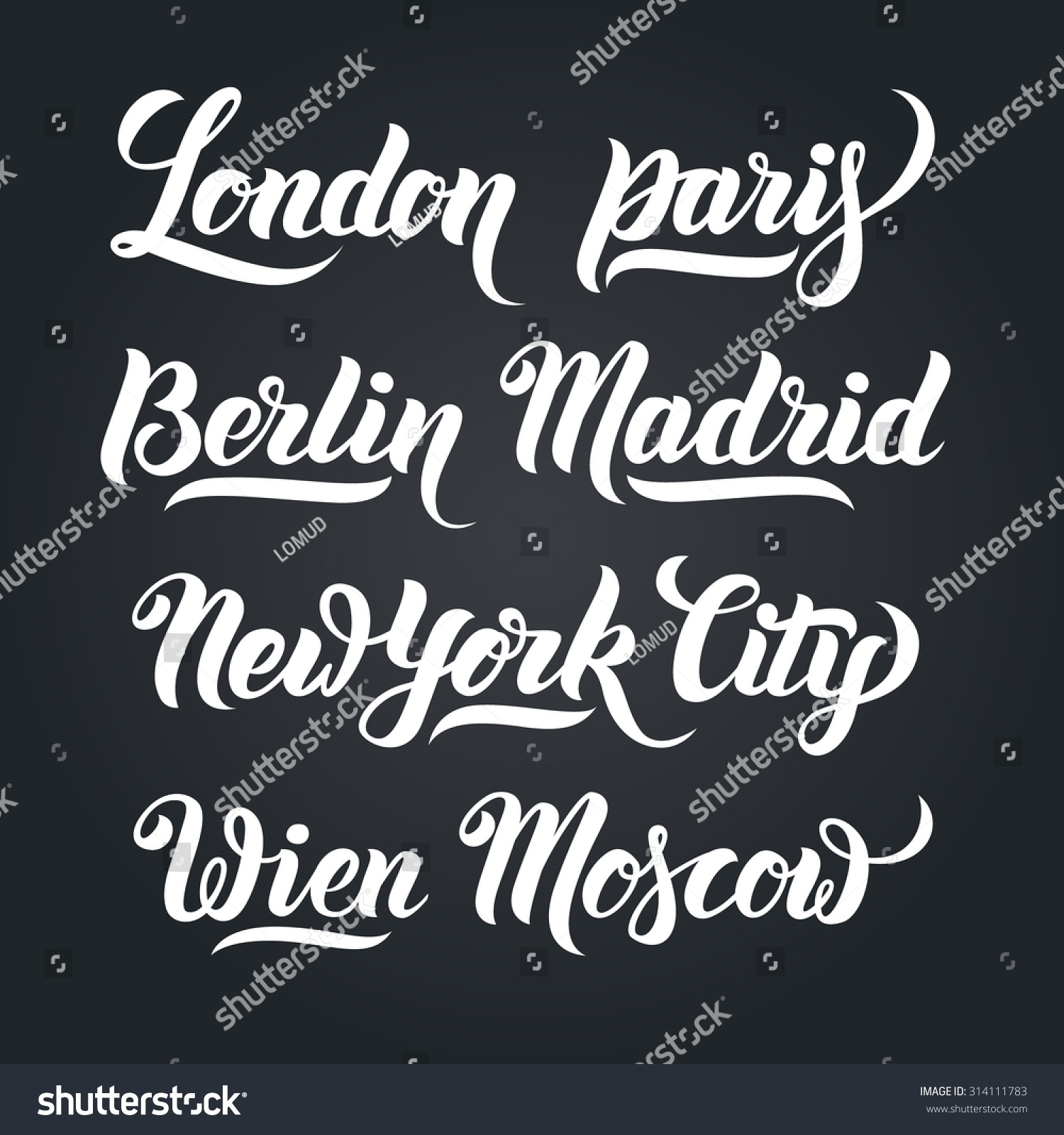 Different city names handlettering calligraphy collection