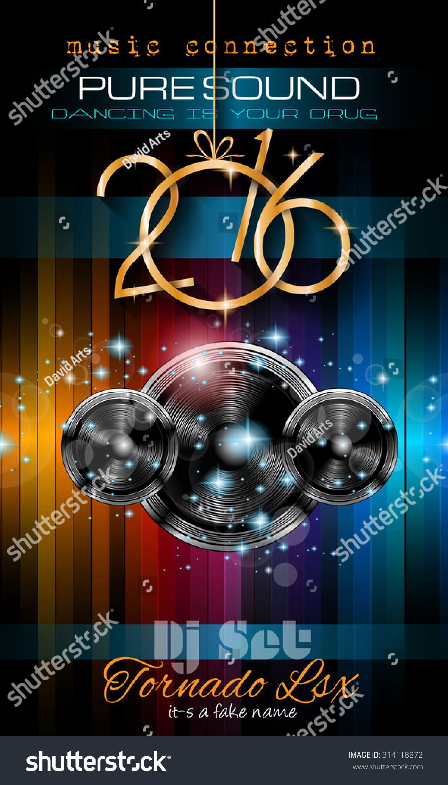 2016 new years party flyer for club music night special events layout template background with
