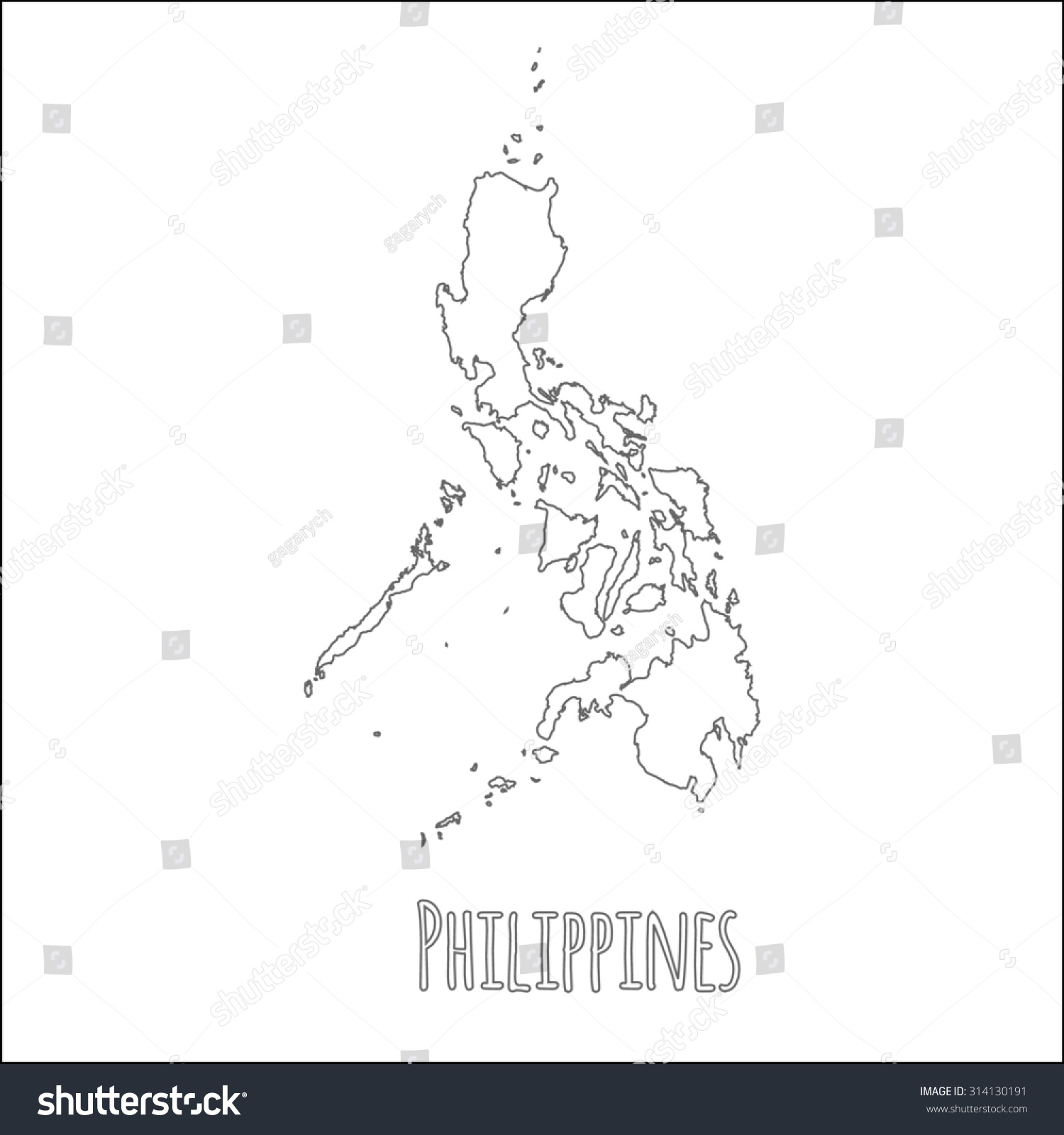 Simple Philippines Map.Outline Vector Map Philippines Simple Philippines Stock Vector