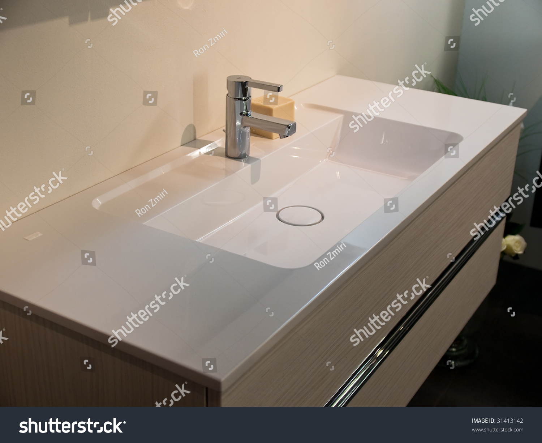 Modern contemporary designer bathroom sink details stock for Detail in contemporary bathroom design