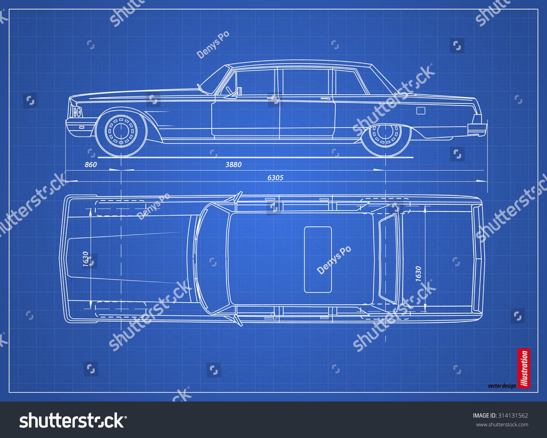 Blueprint retro car vector illustration eps vectores en stock blueprint retro car vector illustration eps vectores en stock 314131562 shutterstock malvernweather Images