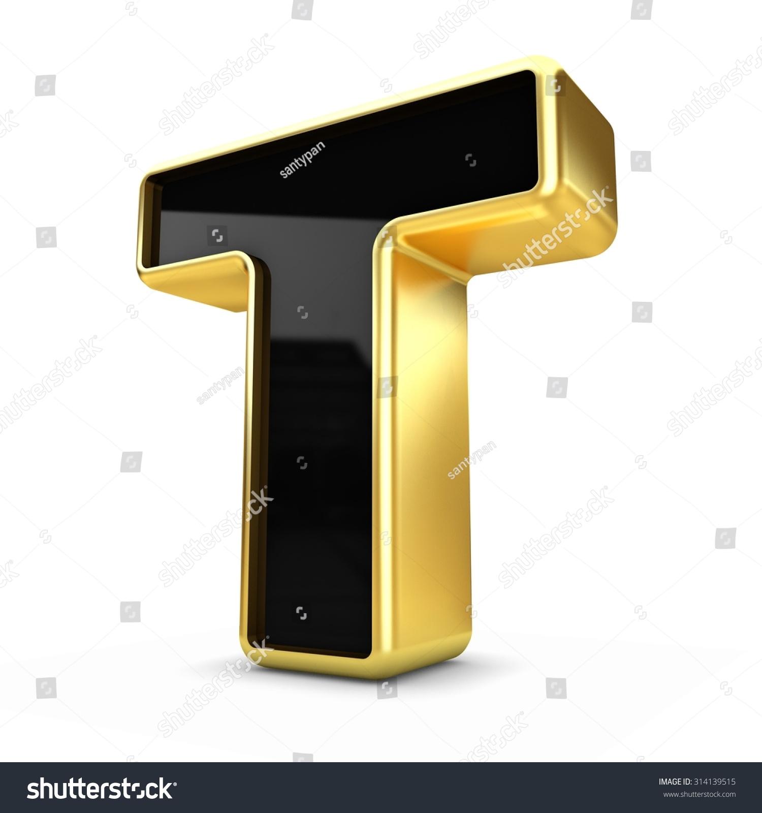 Metal Letter T 3D Gold Black Metal Letter T Stock Illustration 314139515