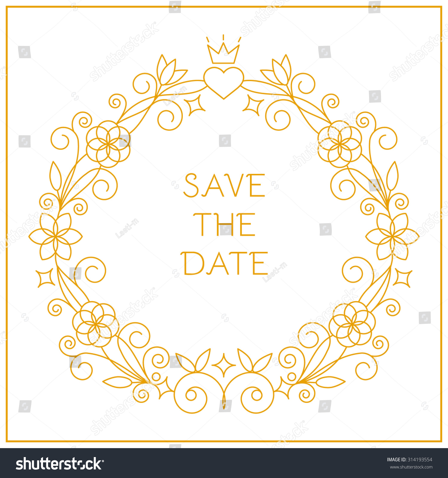 Frame Wedding Invitations Linear Style Wedding Stock Vector ...