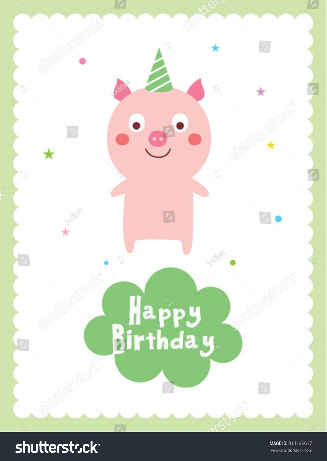 cute pig happy birthday card stock vector   shutterstock, Birthday card