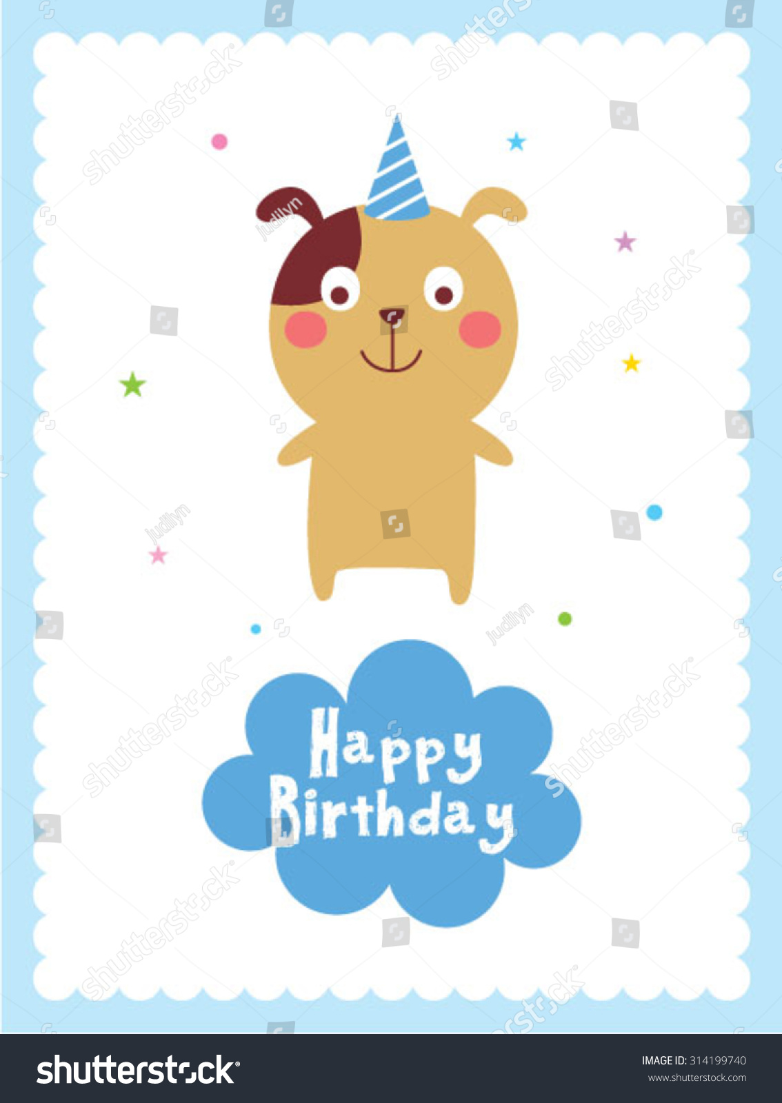Cute puppy dog happy birthday card stock vector 314199740 shutterstock cute puppy dog happy birthday card bookmarktalkfo Choice Image