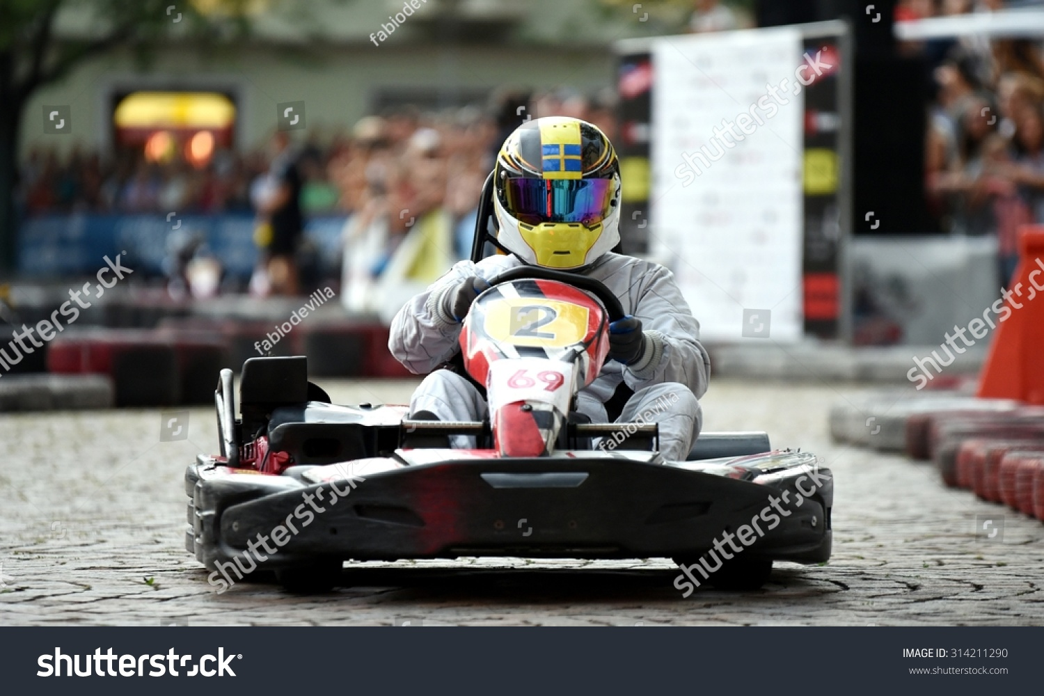 Close Action Go Kart Race Pilot Stock Photo (Royalty Free) 314211290 ...