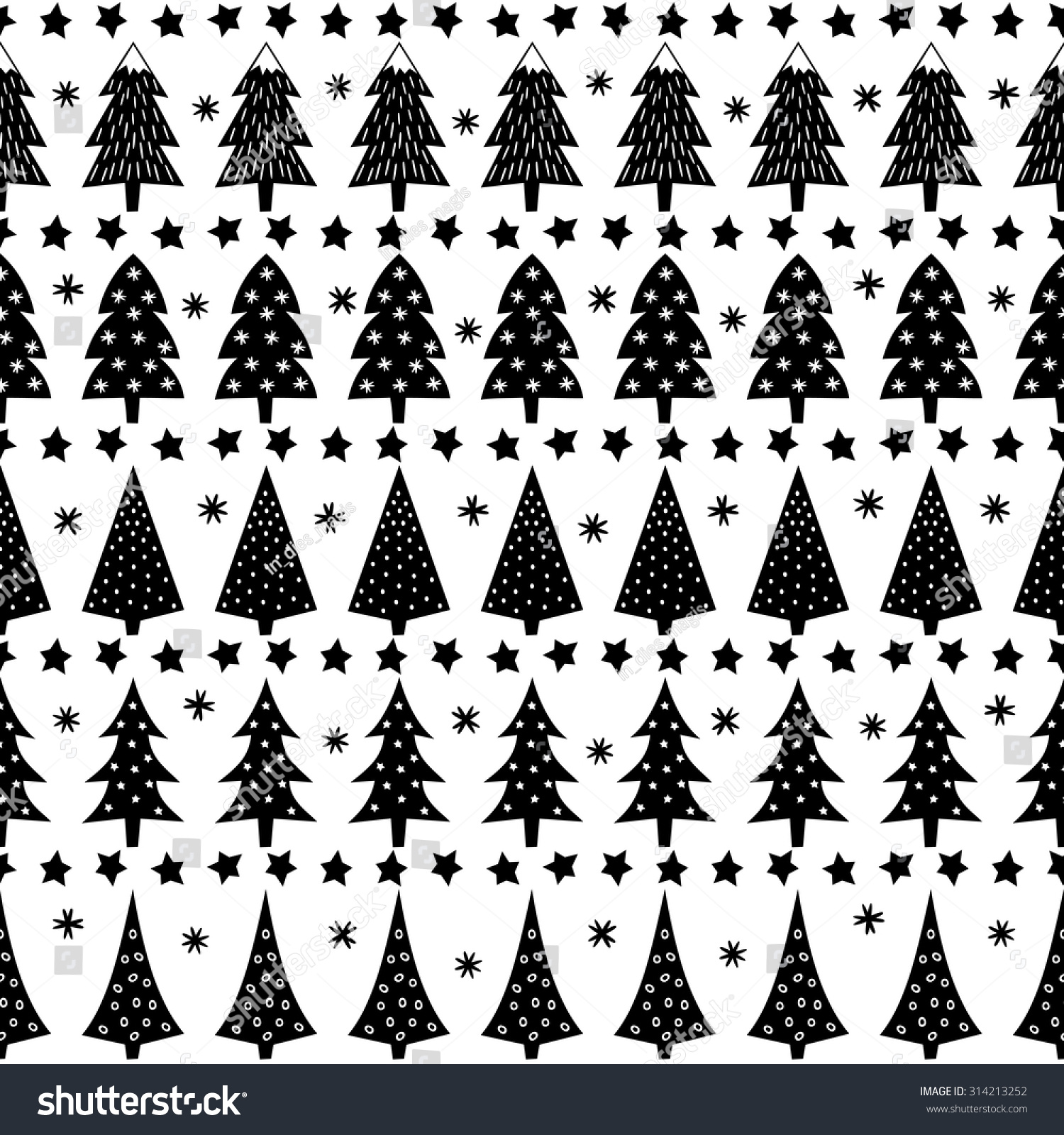 Seamless fir tree scandinavian pattern textile background wrapping - Forest Background Illustration Simple Seamless Christmas Pattern Xmas Trees Stars Snowflakes