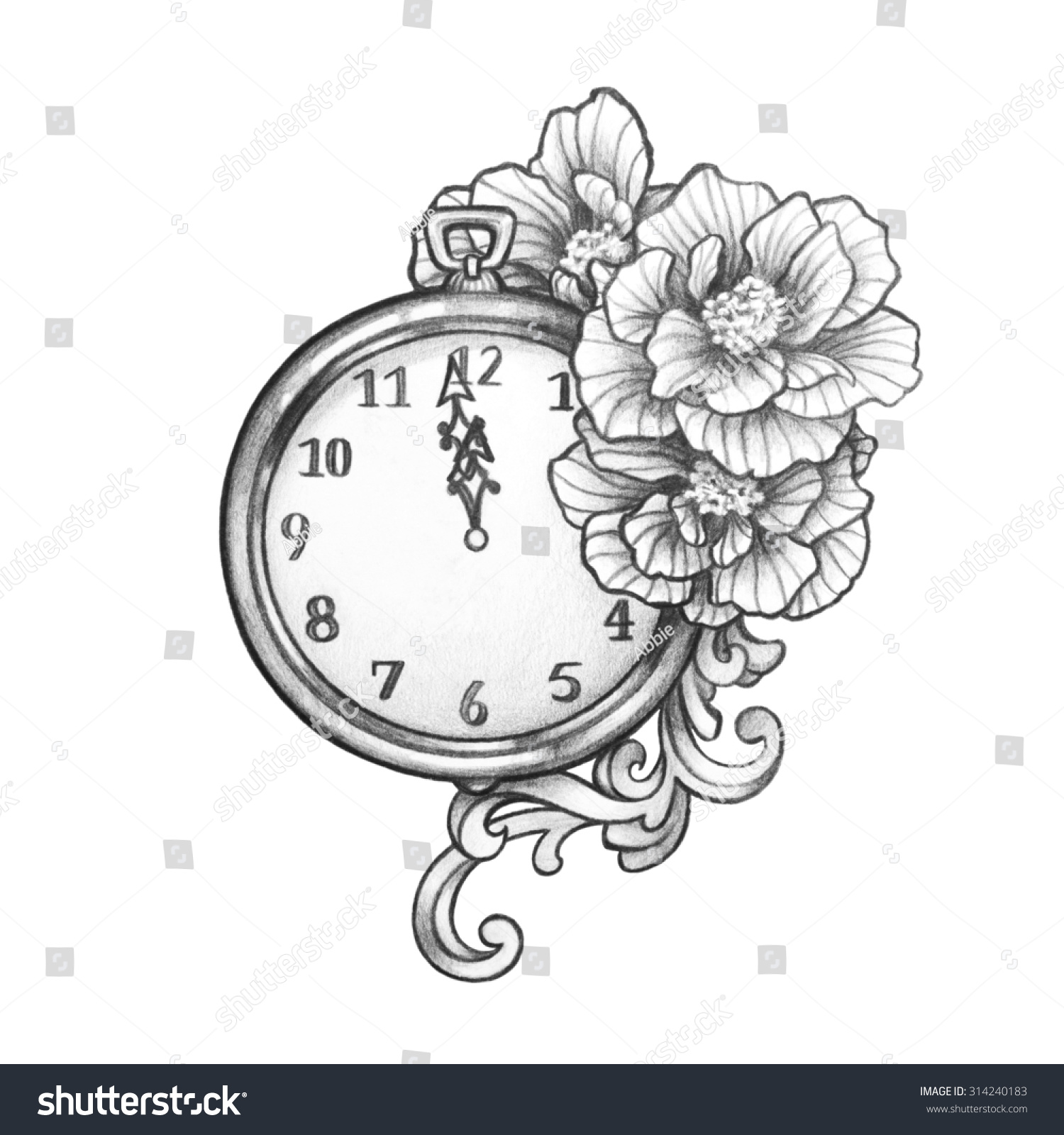 New Year S Line Art : New years eve clock about hit stock illustration