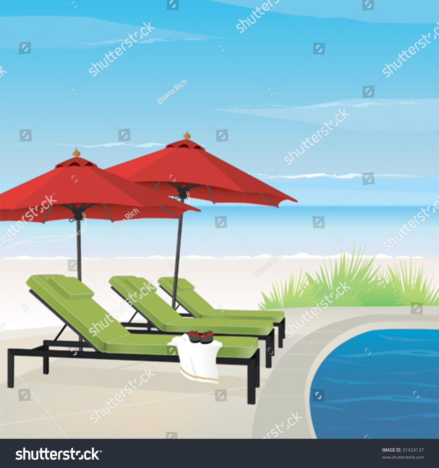 Relaxing Resort Tranquil Beach Pool Stock Vector
