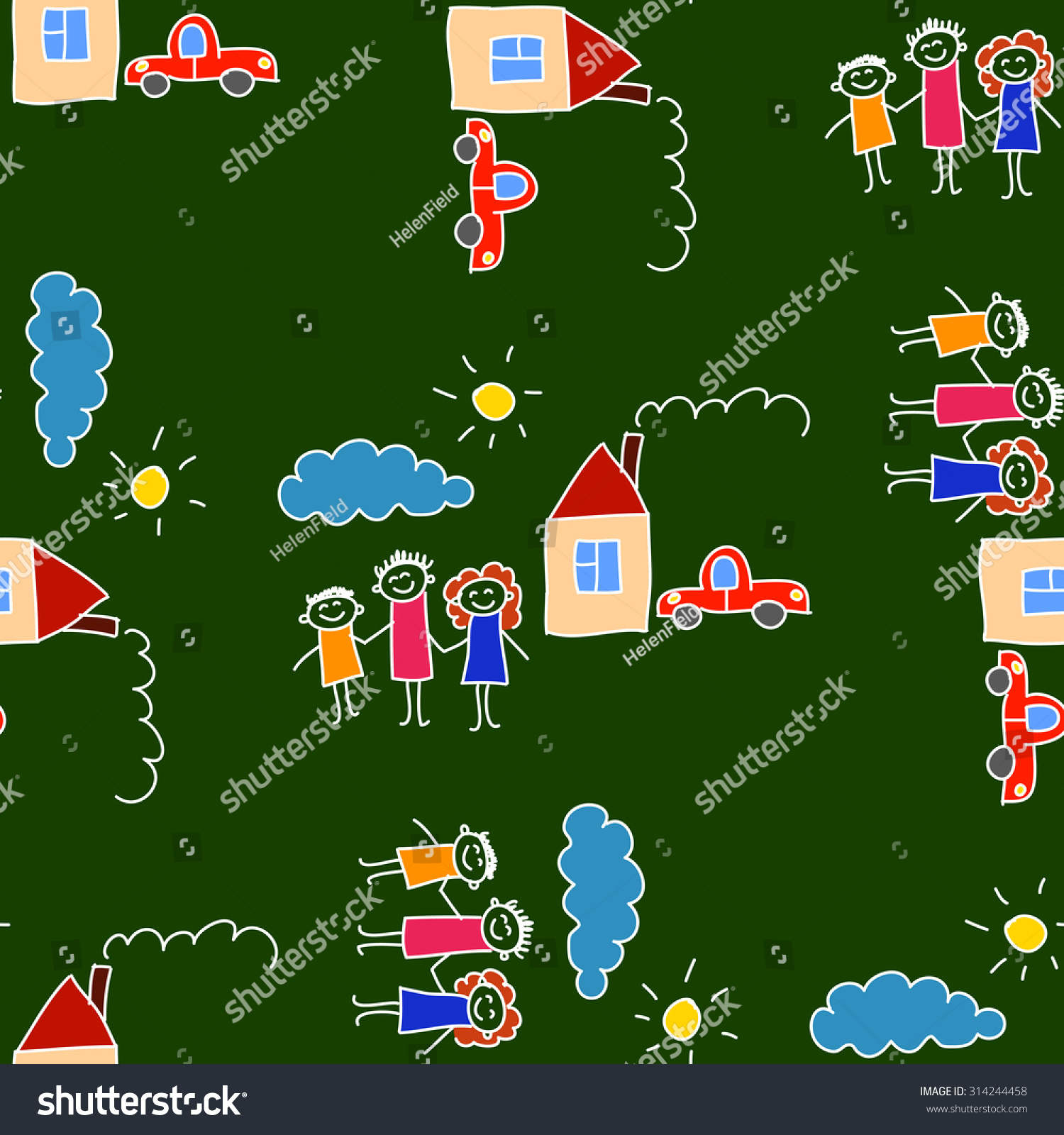 Colorful Seamless Vector Pattern Green Blackboard Kids Drawing