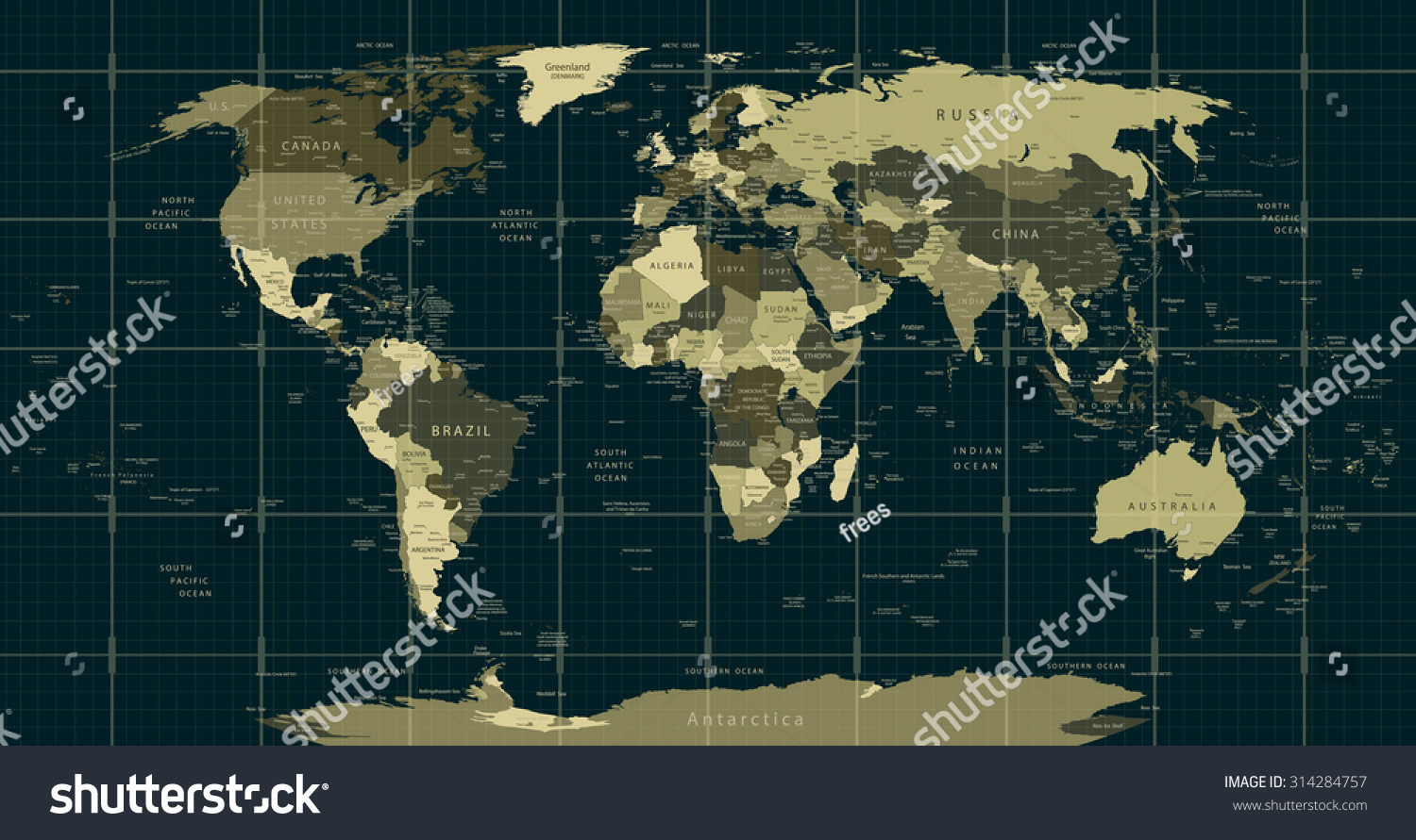 Detailed World Map Camouflage Colors Square Stock Vector 314284757