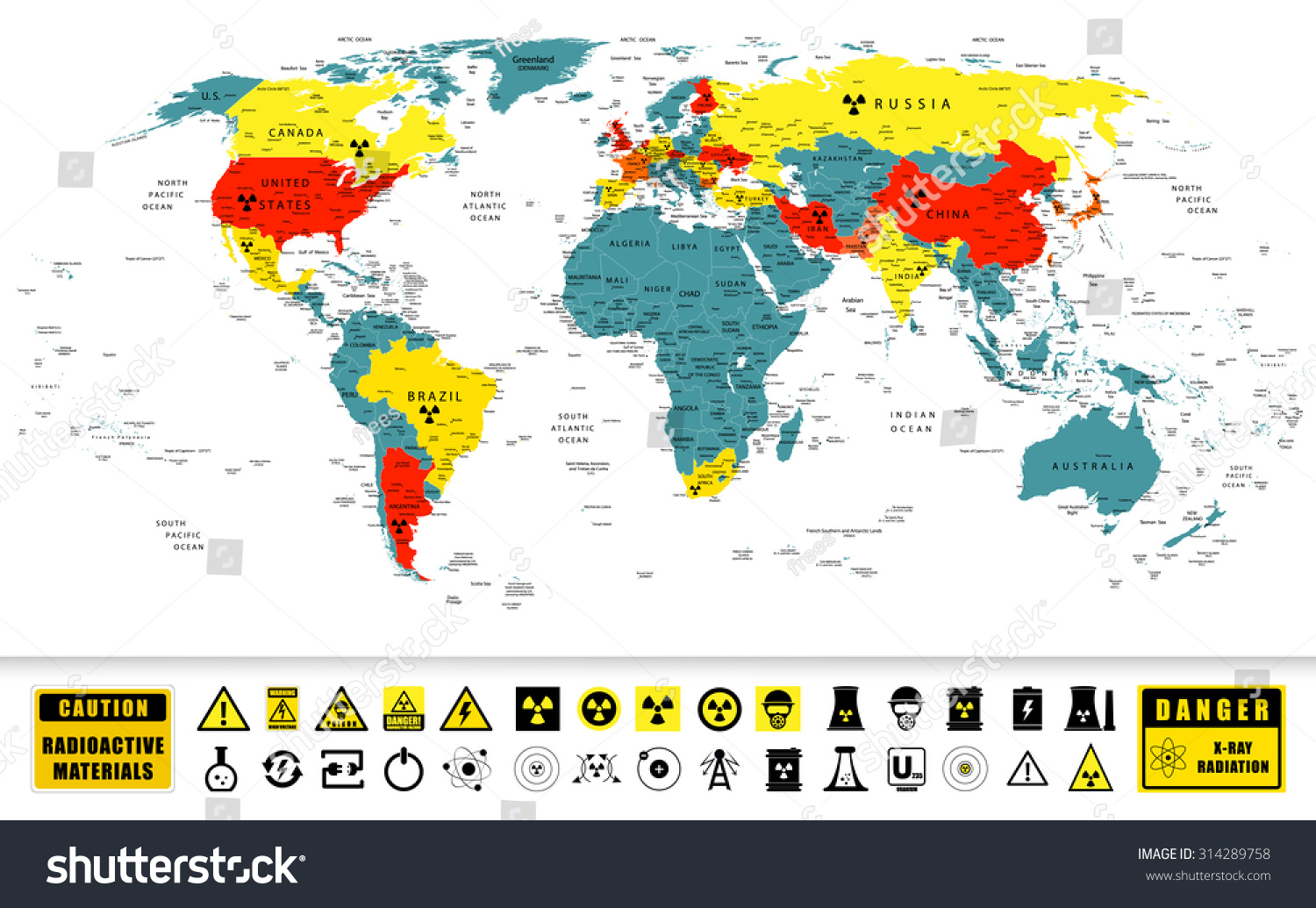 World Map Nuclear Power Countries Location Stock-Vrgrafik ... on