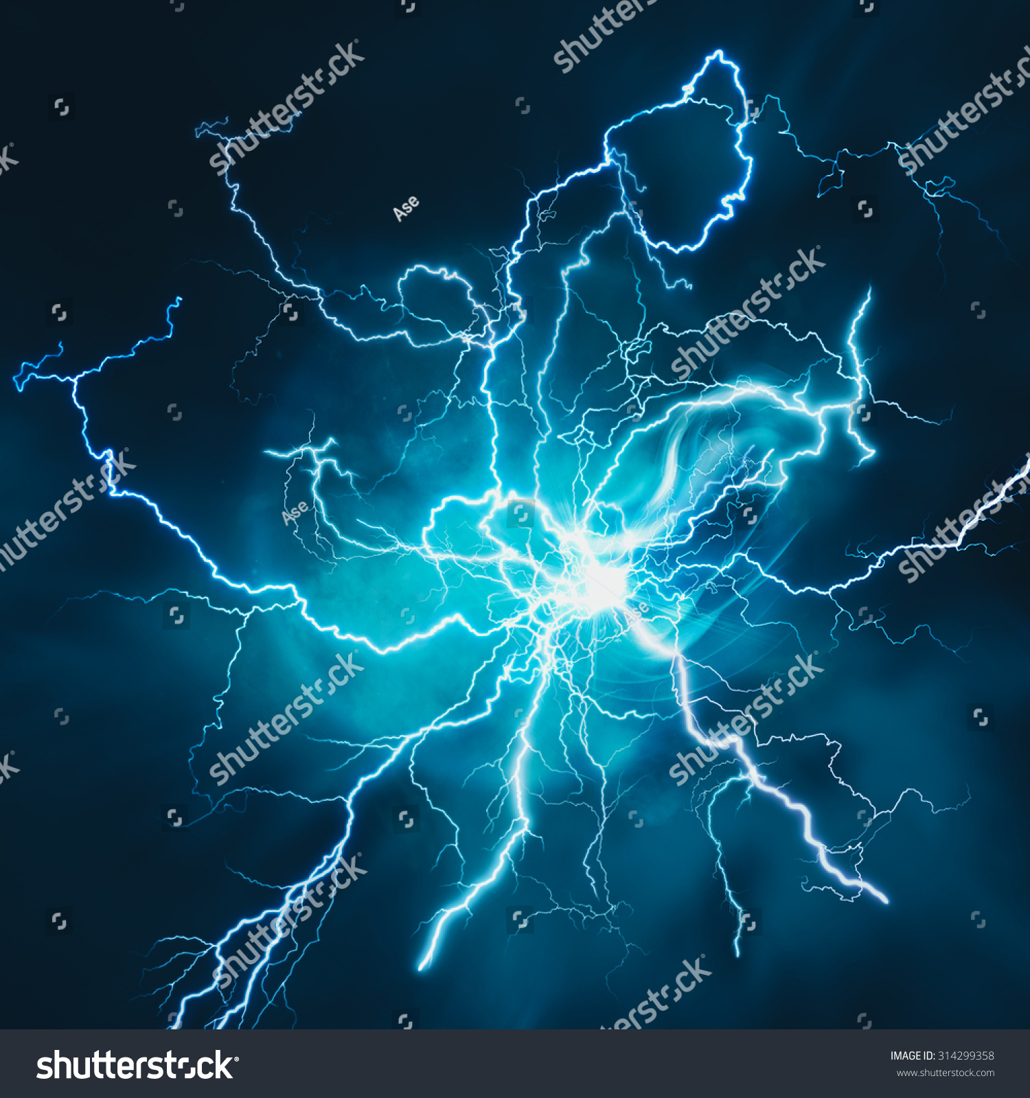 Electric Storm Abstract Science Power Industry Stock Photo