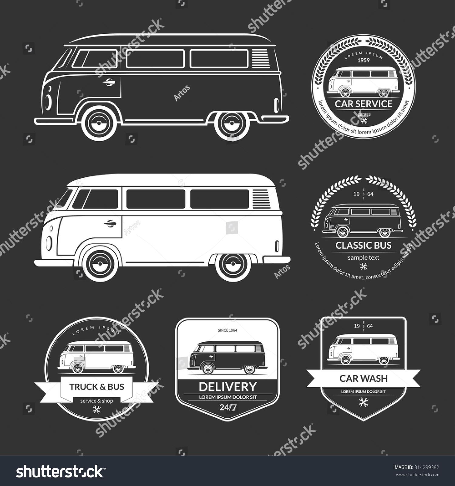 Royalty-free Set of vintage car service labels,… #314299382 Stock ...