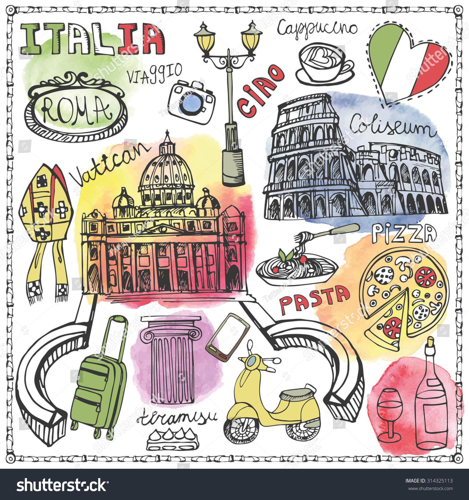 Royalty Free Italy Famous Rome Landmarkwatercolor 314325113 Stock
