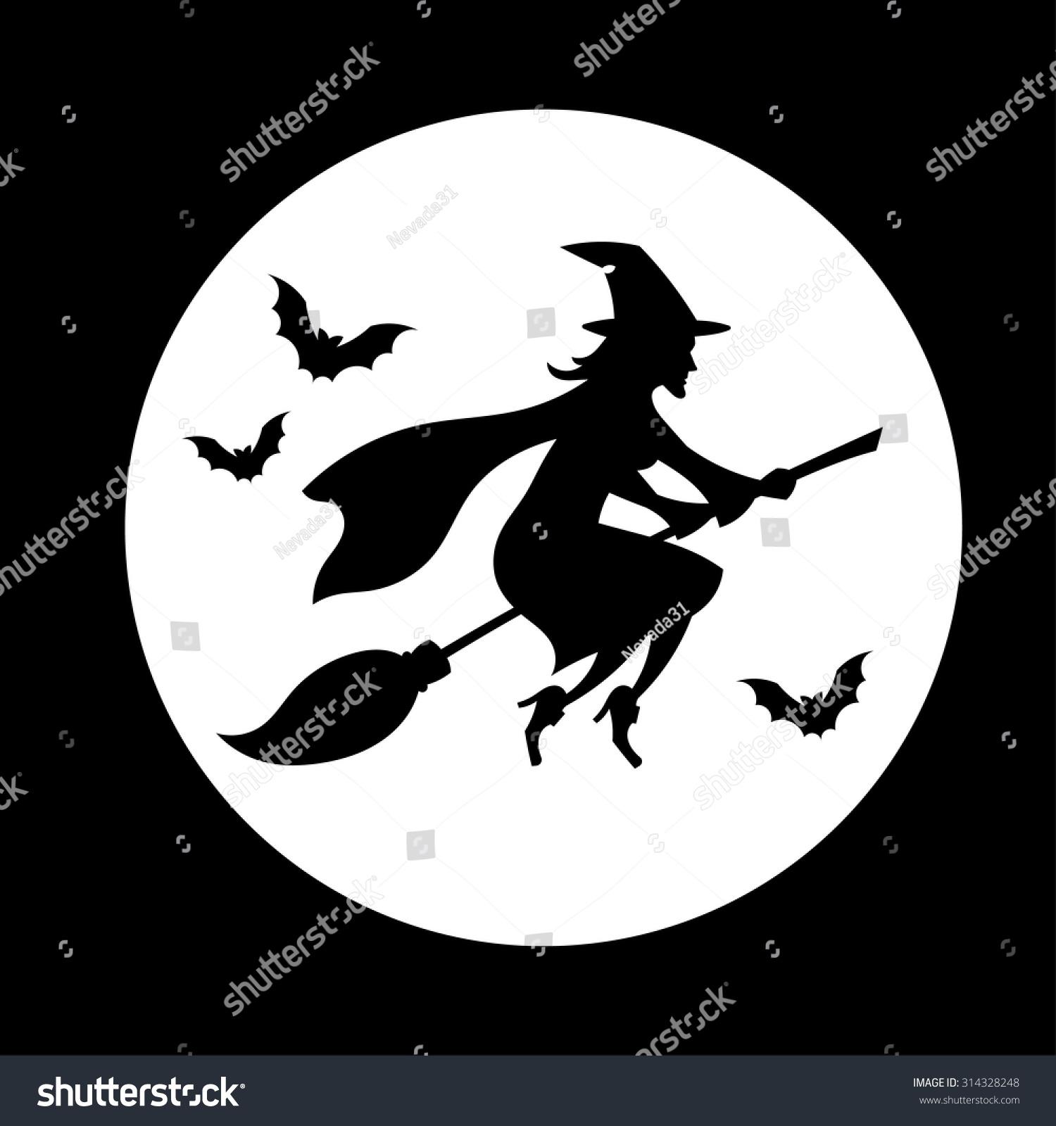 Witch Flying Over Moon Silhouette Halloween Stockvector Rechtenvrij