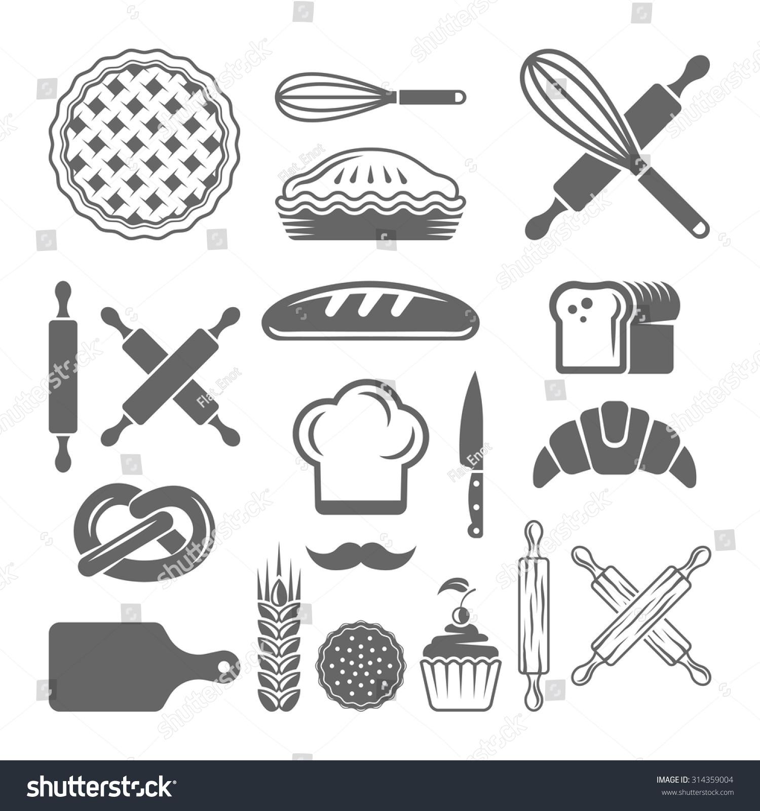 Bakery pastries set vector design elements stock vector for Kitchen design vector