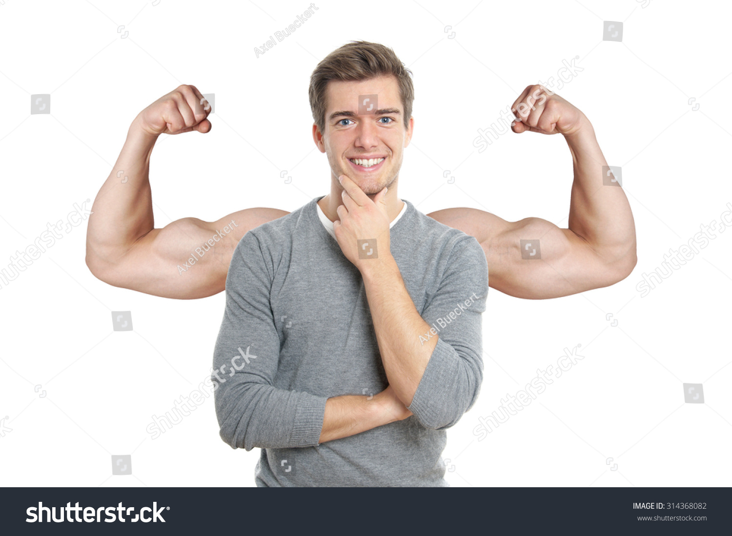 Happy Young Man Superimposed Muscular Arms Stock Photo Edit Now