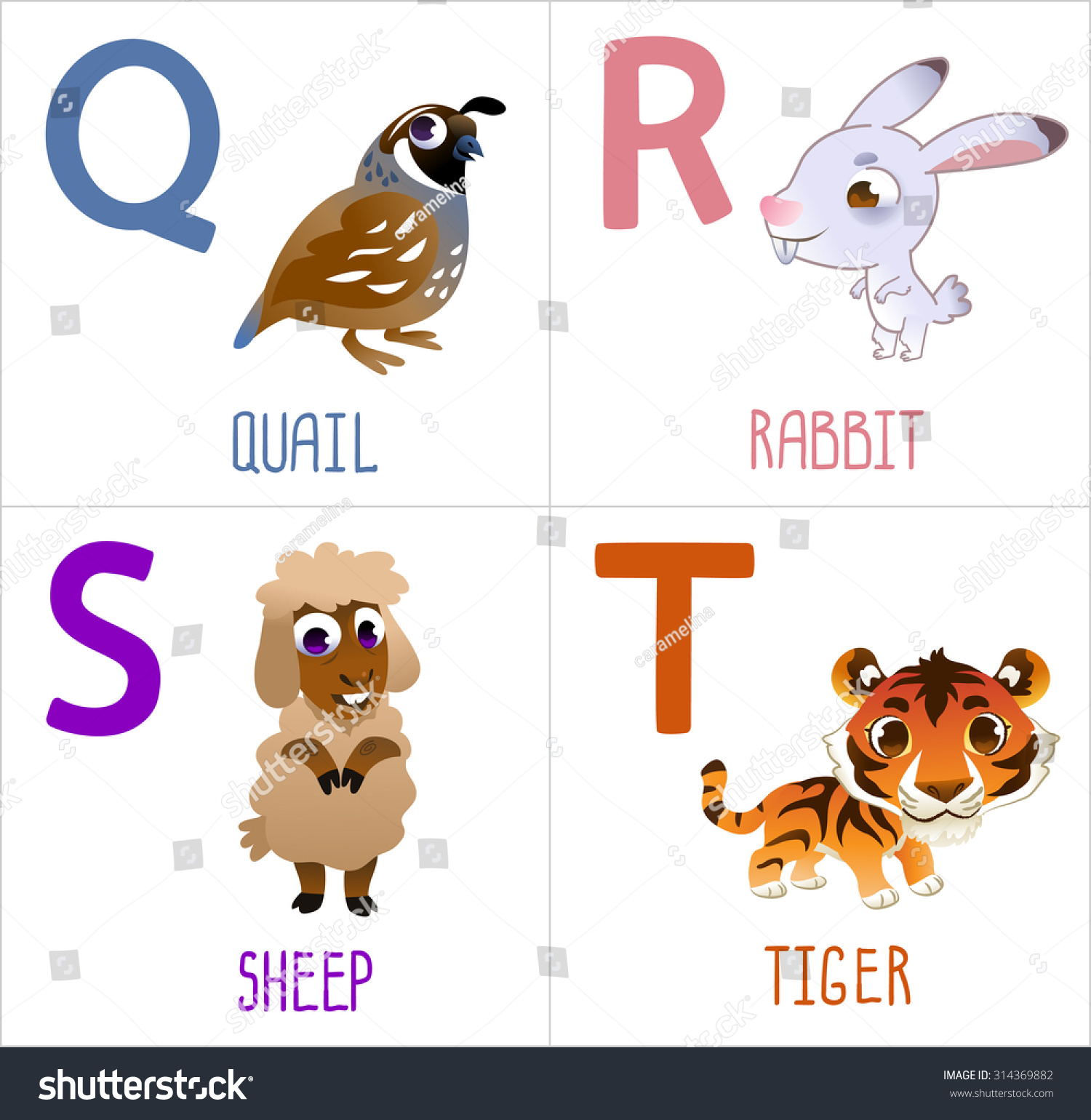 cute cartoon animals alphabet kids funny stock vector 314369882