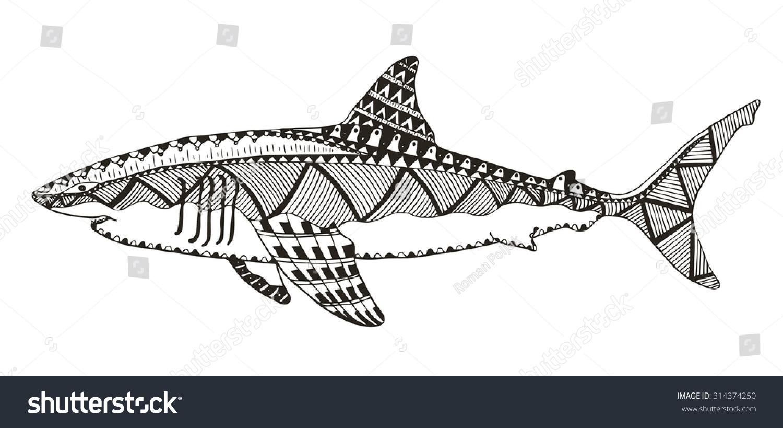 Shark Zentangle Stylized Vector Illustration Pattern Stock ...