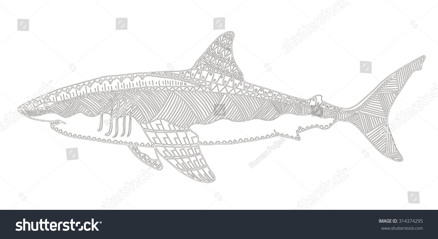 Stock vector ethnic animal doodle detail pattern killer whale - Shark Zentangle Stylized Vector Illustration Pattern Freehand Pencil Hand Drawn