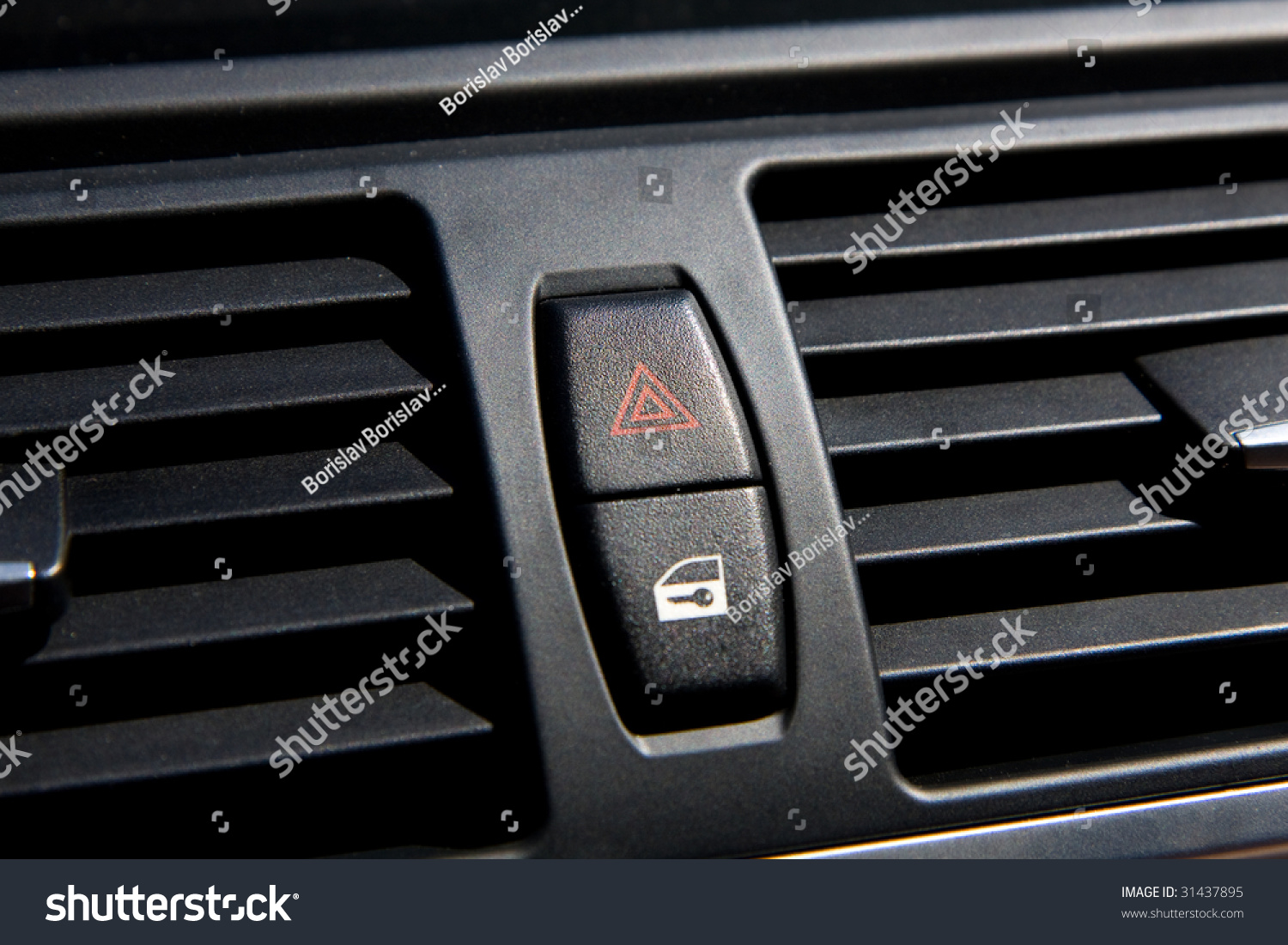 car interior warning light and door lock buttons stock photo 31437895 shutterstock. Black Bedroom Furniture Sets. Home Design Ideas