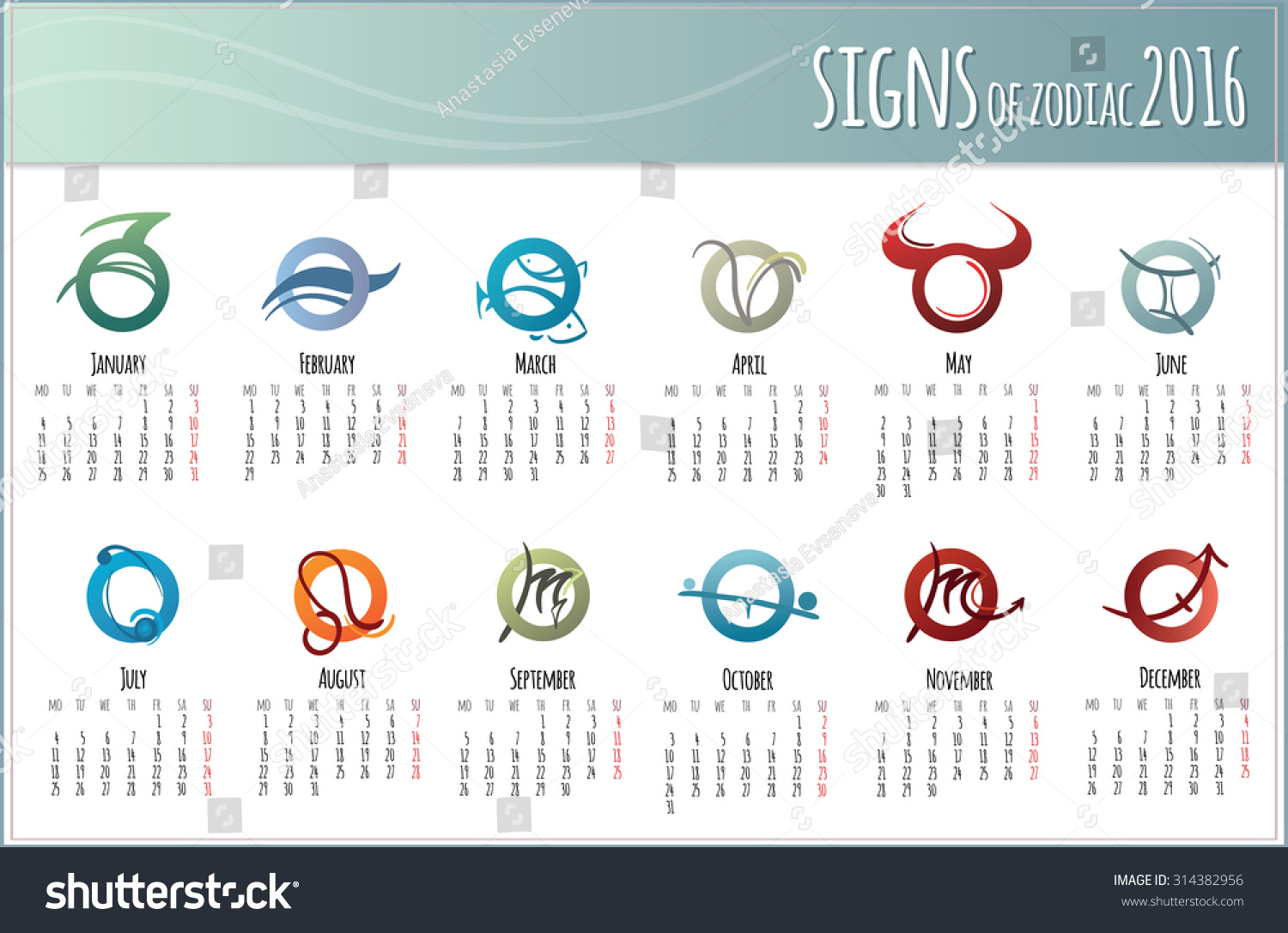 Design european 2016 year vector calendar stock vector 314382956 design european 2016 year vector calendar for print with zodiac symbols week starts monday biocorpaavc Image collections