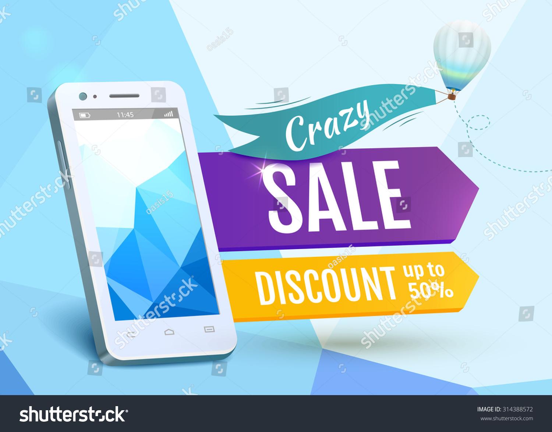 Poster design eps - Sale Smartphone Poster Design Vector Illustration Eps 10