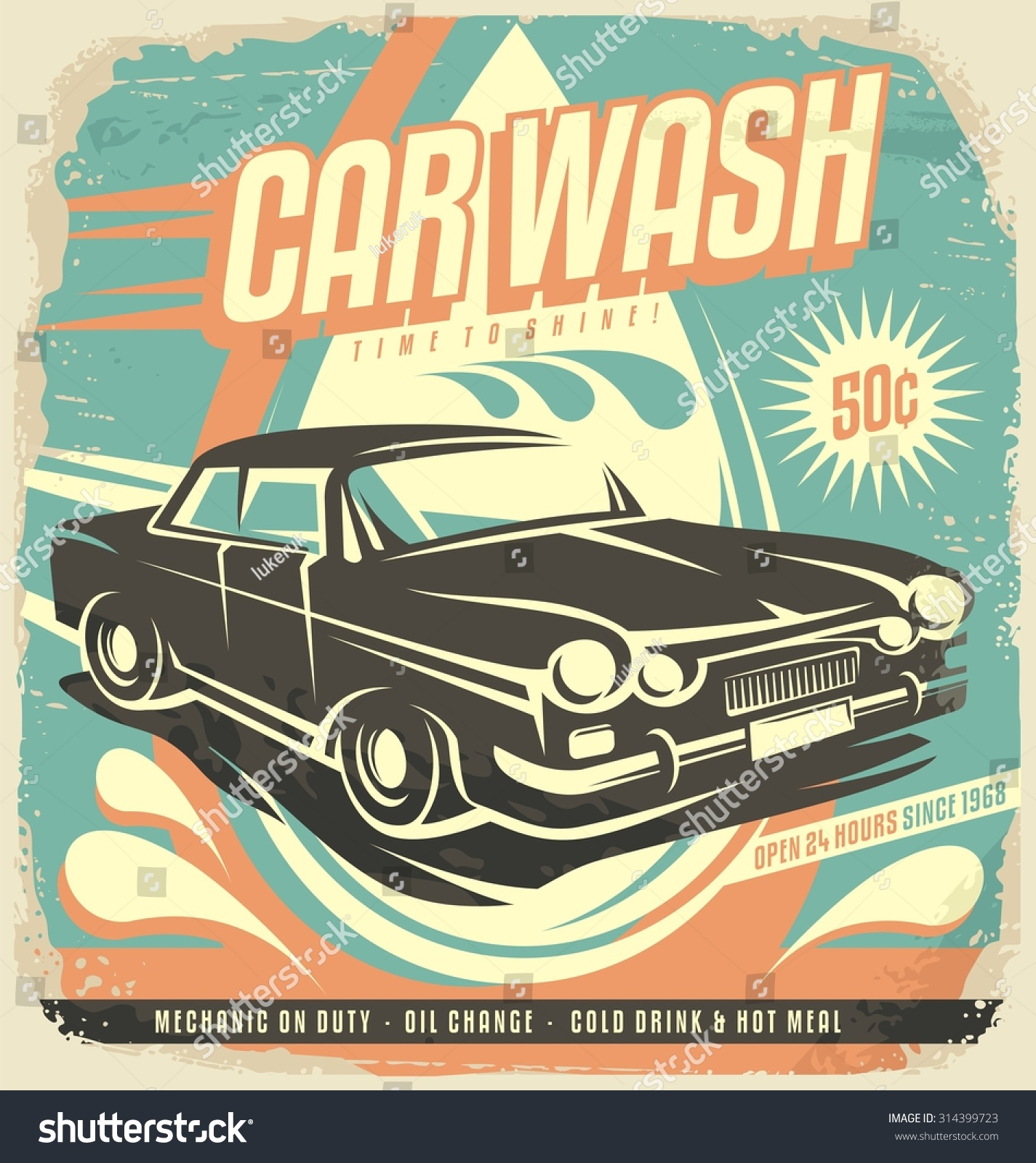 retro car wash poster design vintage stock vector 314399723