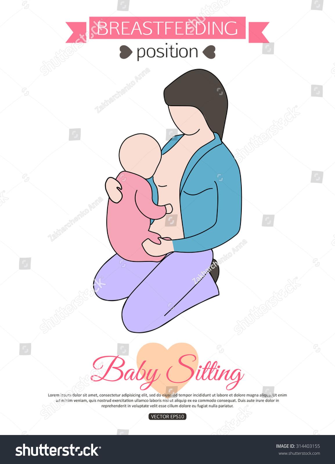 pose breastfeeding breastfeeding position baby sitting stock pose for breastfeeding breastfeeding position baby sitting baby food vector illustration