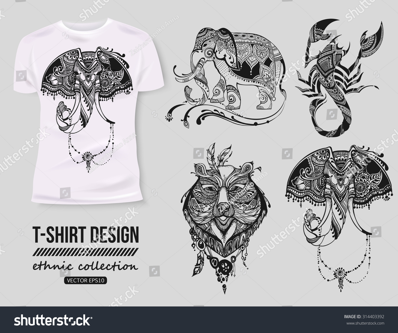 Shirt design style - T Shirt Design With Hand Drawn Ethnic Animals Collection Mehendi Tatoo Style