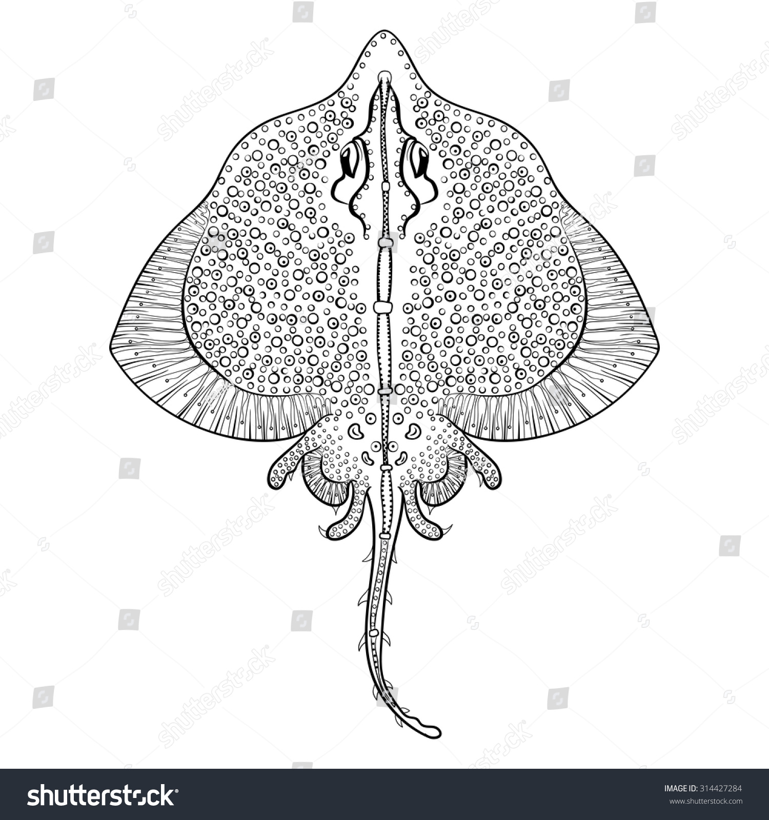 Stingray Coloring Page #6