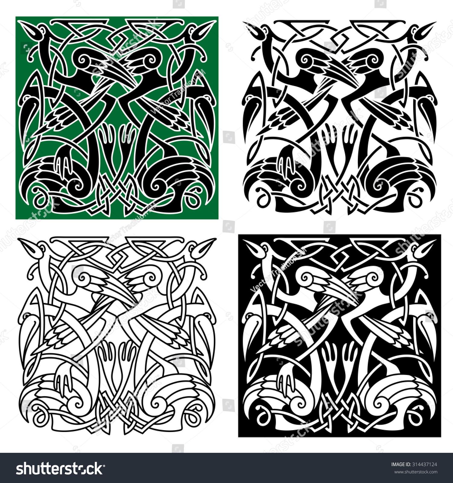 Ancient Celtic Birds Symbols Tribal Stylized Stock Vector Royalty