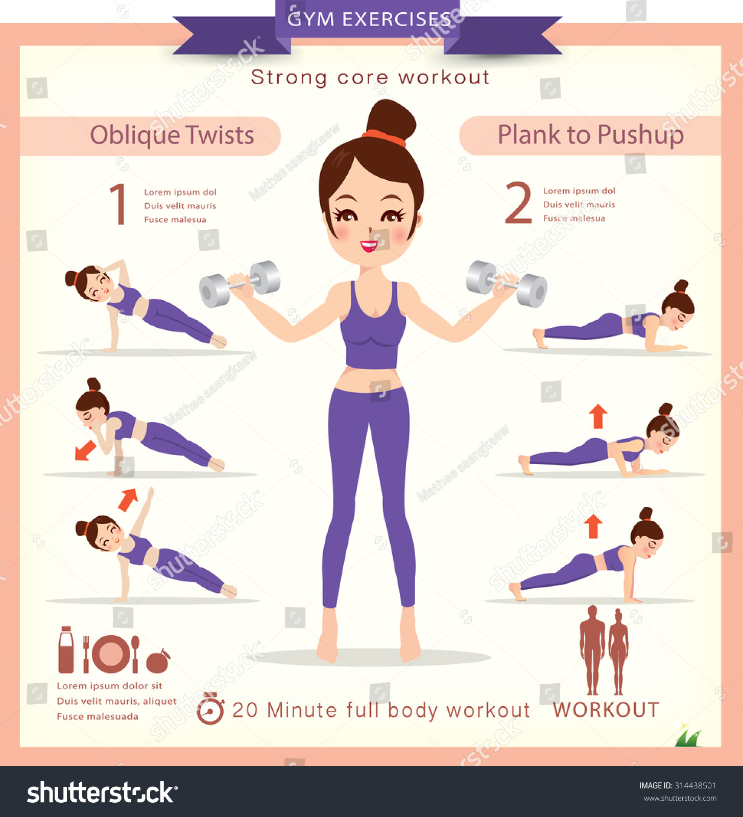Sport fitness infographics home workout vector stock