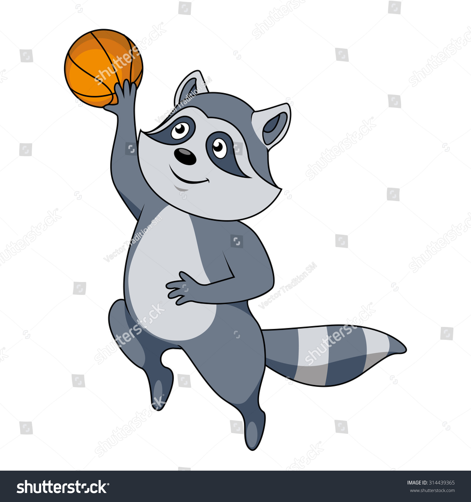 Funny Cartoon Raccoon Basketball Player Character Stock Vector Royalty Free 314439365