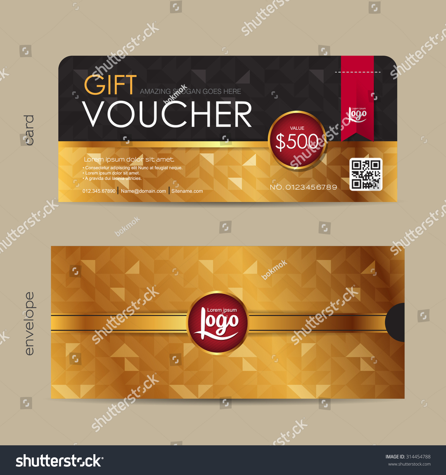 Gift voucher template with premium pattern and envelope design with ...